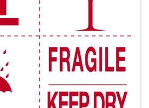 Etykiety, naklejki ostrzegawcze do oznaczeń przesyłek